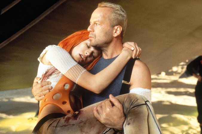 Fifth Element (1997) Milla Jovovich and Bruce Willis CR: Columbia Pictures